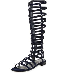 Stuart Weitzman Gladiator Tall Suede Sandal Nice Blue Made To Order - Lyst