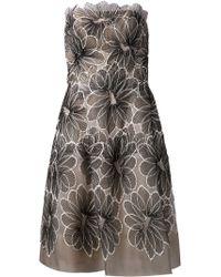 Lela Rose Floral Embroidered Dress - Lyst