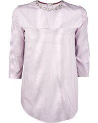 Carven Pinstripe Poplin Bib Shirt - Lyst