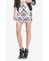 Express - Ivory And Silver Aztec Sequin Mini Skirt - Lyst