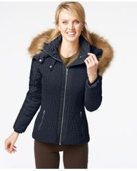 Jones New York | Faux-fur-hood Quilted Knit Jacket | Lyst
