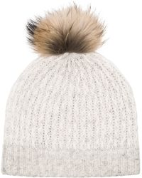 White + Warren Micro Cable Fur Trim Hat - Lyst