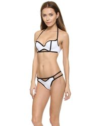 DEL MAR - Area Cutout Bikini Top - White/Black - Lyst