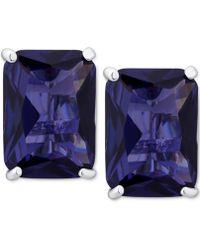 T Tahari - Silver-tone Purple Crystal Clip-on Earrings - Lyst