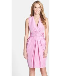 Vera Wang Gathered Taffeta Tulip Dress pink - Lyst