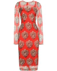 Dolce & Gabbana Printed Silk Dress - Lyst