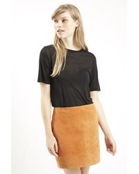 Topshop Ribbed Trim Cashmere Blend Tee By Boutique black - Lyst