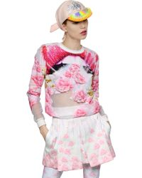 Manish Arora Embellished Crepe & Organza Sweatshirt pink - Lyst