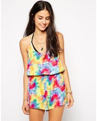 Playful Promises - Tie Dye Strappy Back Playsuit - Lyst