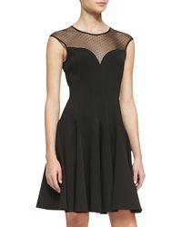Halston Heritage Cap-sleeve Ponte Illusion Godet Dress - Lyst
