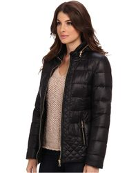 Sam Edelman Loren Packable Hood Coat W Velvet Trim - Lyst