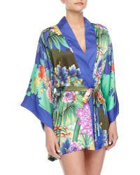 Natori Tahiti Floral-Print Kimono Wrap Robe - Lyst