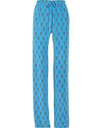 Issa Printed Silk Wideleg Pants - Lyst