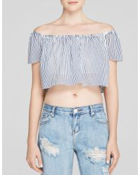 Lucy Paris Top - Bloomingdale'S Exclusive Stripe Off The Shoulder Crop - Lyst