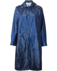 T By Alexander Wang Blue Laminated Parka - Lyst