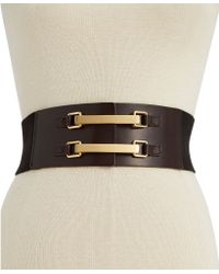 Vince Camuto Wide Stretch Waist Logo Hook Belt - Lyst