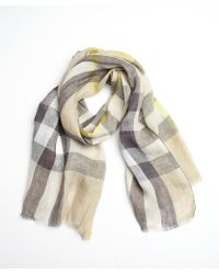 Burberry Bright Citrus Check Linen Frayed Edge Scarf - Lyst