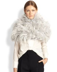 Brunello Cucinelli Ostrich-Feather Capelet - Lyst