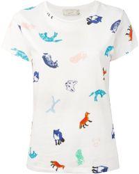 Maison Kitsuné Animal Print T-Shirt - Lyst