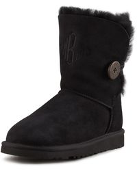 Ugg Monogrammed Bailey Button Short Boot Black - Lyst