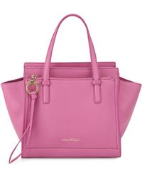 Ferragamo | Amy Small Gancio Leather Tote Bag | Lyst