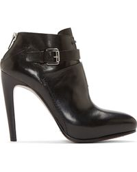 Costume National Black Leather Nappone Ankle Boots - Lyst