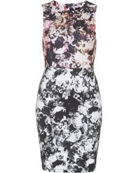 Topshop Photo Floral Print Bodycon Dress - Lyst