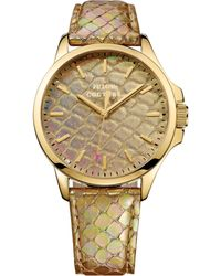 Juicy Couture Womens Jetsetter Gold Metallic Pythonembossed Leather Strap Watch 38mm - Lyst