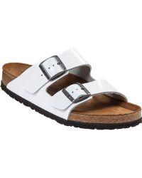 Birkenstock Arizona Slide Sandal White Patent - Lyst