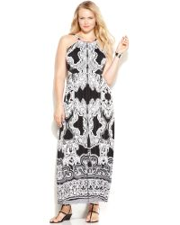 Inc International Concepts Plus Size Printed Maxi Halter Dress - Lyst