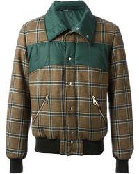 Dolce & Gabbana Checked Panel Bomber Jacket - Lyst