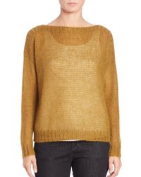 Eileen Fisher Airy Mohair-Blend Boxy Sweater gold - Lyst