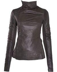 Rick Owens Charcoal Slim Asymmetric Leather Jacket gray - Lyst