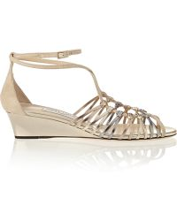 Jimmy Choo Laze Metallic Leather and Suede Wedge Sandals - Lyst