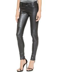 J Brand Nicola Leather Moto Pants Pewter - Lyst