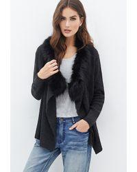 Love 21 Faux Fur Collar Waffle Knit Cardigan - Lyst