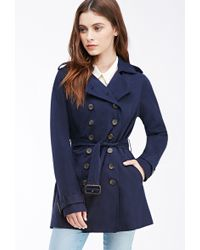 Forever 21 Double-Breasted Trench Coat - Lyst