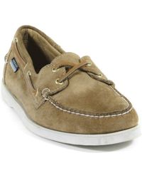 Sebago Docksides Beige Suede Shoes - Lyst