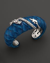 John Hardy Naga Silver Medium Squeeze Cuff With Turquoise Color Exotic Skin With African Ruby Eyes blue - Lyst