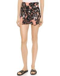 Rebecca Taylor Splashy Flower Shorts - Woodrose - Lyst