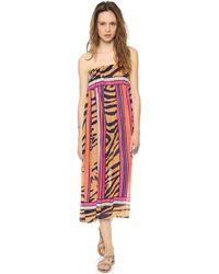 Theodora & Callum - Mombasa Maxi Skirt Tube Dress Mombasa Navy Multi - Lyst