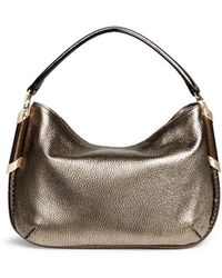 Jimmy Choo 'Zoe' Python Trim Metallic Grainy Hobo Bag - Lyst