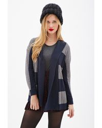 Forever 21 Striped Open-Front Cardigan - Lyst