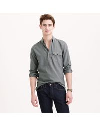 J.Crew Brushed Flannel Popover in Herringbone - Lyst