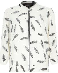 River Island Beige Embellished Feather Print Bomber Jacket - Lyst