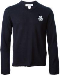 Comme Des Garçons Printed Chest V-neck Sweater - Lyst