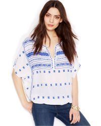 Lucky Brand Jeans Lucky Brand Short-Sleeve Split-Neck Embroidered Top - Lyst