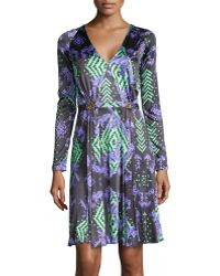 Versace Abito Donna Print Dress W/ Double-Clasp Waist - Lyst