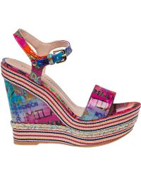 Stuart Weitzman | Printed Patent-Leather Wedges | Lyst