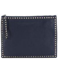 Valentino Marine Blue Leather 'Rockstud' Large Clutch Bag - Lyst